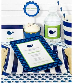 Blue Whale Birthday Party in a Box. Everything you need to throw a perfect Whale Birthday Party by SimplyGenie.com