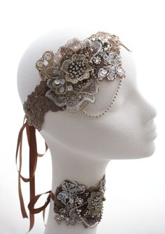 1920s hair tie and bridal cuff The Modern Vintage Bride for #bellabrilla www.themodernvintagebride.co.uk