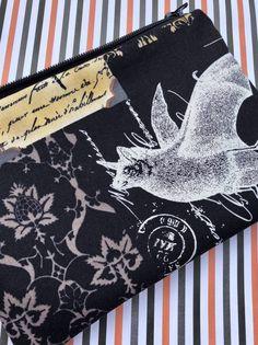 Nevermore Zipper Pouch: Bats, Birdcage, Old Script. Edgar Allan Poe. Goth, Halloween.
