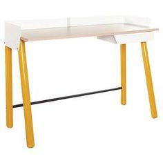 """Featuring clean lines and a tempered glass top, this contemporary writing desk is a stylish addition to your study or home office.  Product: Writing deskConstruction Material: Wood and metalColor: Yellow saffron and whiteFeatures:  Metal rim around perimeter with slots for cord management One pencil drawer with runners  Dimensions: 32.01"""" H x 44.25"""" W x 19.49"""" D"""