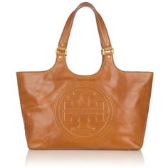 Tory Burch Burch Bombe Leather Tote ❤ liked on Polyvore