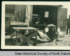 Truck repair on number 14, CCC camp 2772 near Watford City, N.D. :: State Historical Society of North Dakota (SHSND)