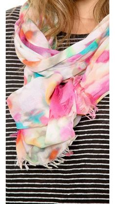 Love this floral Giverny scarf by Kate Spade NY, paired with a black and white top. Surprising and perfect.