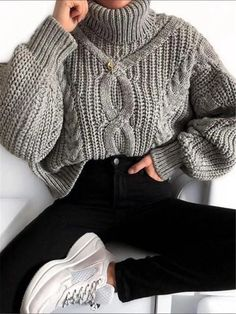 Daily Wild Color High Collar Loose Sweater Daily Wild Color High Collar Loose Sweater – stylealice The post Daily Wild Color High Collar Loose Sweater… Winter Outfit For Teen Girls, Casual Winter Outfits, Winter Fashion Outfits, Sweater Fashion, Look Fashion, Trendy Outfits, Fall Outfits, Womens Fashion, Turtleneck Fashion