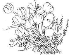 risco+para+pintar+tulipas+tecido.JPG (566×453)