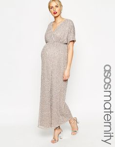 Image 1 of ASOS Maternity Kimono Maxi Dress In Sequin
