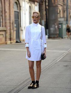 white shirt dress love #MBFWA