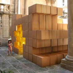 French architects O-S created this temporary installation at Hotel Saint-Côme in Montpellier, as part of the Festival des Architectures Vives 08. The installation is made of cardboard boxes, as you can see. Here's some info from the architects: -- This small scale temporary project underlines and sublimates the intimate character of the Hotel Saint-Côme's courtyard,