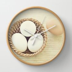 Eggs in a Basket Wall Clock Photo Wall Clock by whimsycanvas, $50.00