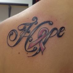 breast cancer hope tattoo.