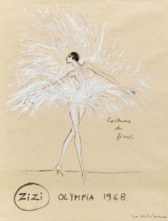 Spectacle de Zizi Jeammaire en 1968.  Croquis original d Yves Saint Laurent.  Document Musée Yves Saint Laurent.
