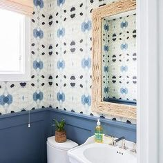 Powder Room with Blue Wainscoting