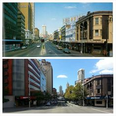 William Street looking up to Kings Cross, circa 1980 and in 2015 (1980 my collection, 2015, Allan Hawley. By Allan Hawley