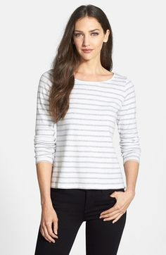 Eileen Fisher Stripe Organic Cotton Ballet Neck Tee (Regular & Petite) available at #Nordstrom