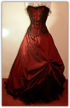 dark red victorian style dress
