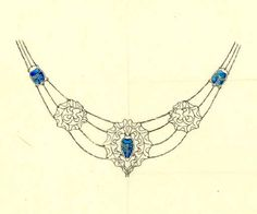 Ehrström, Eric O. W. / Necklace, sketch (1881 - 1934) / drawing, Indian ink and watercolour on paper / Gösta Serlachius Fine Arts Foundation, digitized from original