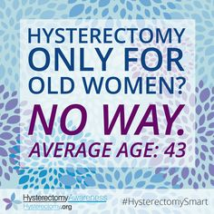 Hysterectomy only for old women? No way! Average age: 43 #HysterectomySmart