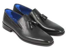 Paul Parkman Men's Tassel Loafer Black Leather Upper Leather Sole Plain-toe men's tassel loafer Black Italian calfskin leather upper Black leather sole Blue lining and inner sole Handcrafted This is a made-to-order product. Mens Tassel Loafers, Leather Tassel, Leather Heels, Loafers Men, Leather Moccasins, Leather Upper, Black Leather, Cow Leather, Real Leather