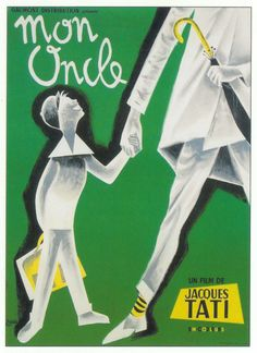 Art by Pierre Etaix. Etaix was the assistant director on Mon Oncle and he helped conceive the film with Tati by illustrating his ideas. Tati asked him to design the poster also, as well as this alternative version. Mon Oncle Tati, Mon Oncle Jacques Tati, Tati Jacques, Beau Film, Norman Rockwell, Love Posters, Vintage Posters, Vintage Prints, Love Movie