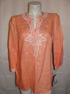 NEW SUNNY LEIGH Top Women's Sz L Coral White Embroidery 3/4 Slv Linen Shirt NWT #SunnyLeigh #Blouse #WearToWOrkCasual