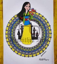 Mulan 👸 Mandala Design, Mandala Art, Disney Princesses, Disney Princess, Disney Princes