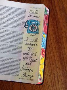 Jeremiah 33:3. Sherrie Bronniman - Art Journaling: In My Bible