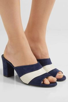 Heel measures approximately 75mm/ 3 inches Midnight-blue suede, white leather Slip on Made in Italy