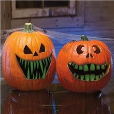 Make your own with plastic bits and glow-in-the-dark paint ... ohhh, do a gold toth for a pirate pumpkin :)