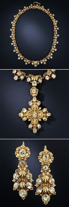 Early 19th century chrysoberyl parure, 26 carats total weight chrysoberyl set in 18k gold.