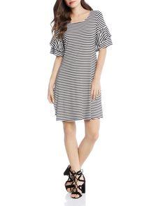 a82dba96af2d Karen Kane Striped Ruffle-Sleeve Dress Women - Bloomingdale s