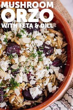 This mushroom orzo recipe is packed with flavour from the sweet roasted beetroot and earthy mushrooms. Serve sprinkled with crumbled feta and chopped dill for a hint of freshness! #thecookreport #mushroomorzo #vegetarian #recipe #veggierecipe Cookout Side Dishes, Healthy Side Dishes, Dinner Dishes, Side Dishes Easy, Best Vegetarian Recipes, Veggie Recipes, Pasta Recipes, Delicious Recipes, Healthy Recipes