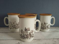 Set of 4 Churchill Woodland Mugs // English Pottery // Fox and English Pottery, Off White Color, Ceramic Mugs, Churchill, Squirrel, Woodland, Flora, Buy And Sell, Shapes