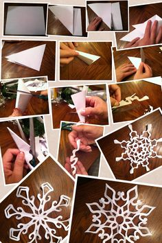 DIY paper snow flakes. Homemade Christmas Decorations, Holiday Crafts, Holiday Fun, Christmas Holidays, Xmas, Gruffalo Party, Snow Flakes Diy, How To Make Snow, Art Plastique
