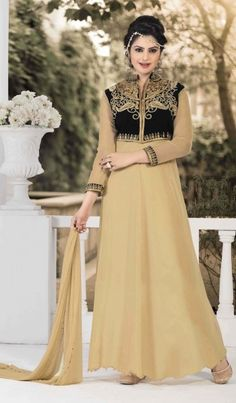 Beige Soft Net Embroidered Designer Gown