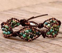 Wrap bracelet leather wrap bracelet gemstone turquoise by chashway, $88.00