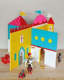 Mer Mag - Interlocking Cardboard Castle with Duct Tape Kids Crafts, Projects For Kids, Diy For Kids, Craft Projects, Cardboard Castle, Cardboard Crafts, Wooden Castle, Cardboard Playhouse, Cardboard Furniture