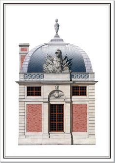 Andrew Zega and Bernd H. Dams, watercolor, Versailles guard pavilion