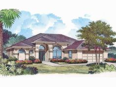 Mediterranean House Plan with 2264 Square Feet and 3 Bedrooms from Dream Home Source | House Plan Code DHSW53875