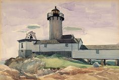 Eastern Point Light. 1923. Probably among the first watercolors.  An Edward Hopper Scrapboook / American Art