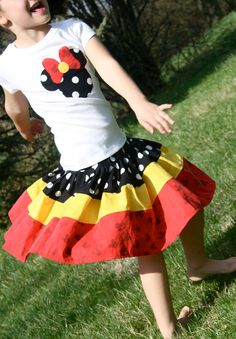 Disney Mickey Minnie Mouse outfit, skirt shirt, Red Yellow Black, sizes 12M - 7/8 on Etsy, $56.00