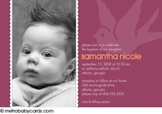 Photo Baptism/Christening Invitations :: Dove Pink Design
