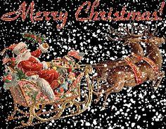 Joyce Xmas Glitter | Santa and His Sleigh with Merry Christmas greeting