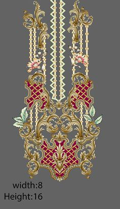 Embroidery designd on Behance Baroque Pattern, Baroque Design, Pattern Art, Print Patterns, Textile Prints, Textile Design, Floral Design, Flower Art Images, Back Of Neck Tattoo