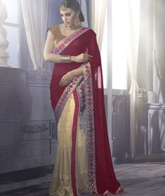 Buy Maroon Georgette Wedding Saree 70963 with blouse online at lowest price from vast collection of sarees at Indianclothstore.com.