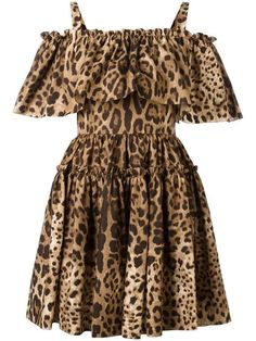 Shop a wide selection of Dolce & Gabbana brand clothing & accessories on Lyst. Dolce & Gabbana, Vestido Dolce Gabbana, Frilly Dresses, Ruffle Dress, Cotton Dresses, Cute Dresses, Animal Print Outfits, Leopard Dress, Brown Dress