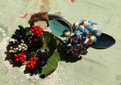 Lovely lot  berry beaded vintage millinery by duchesstrading