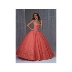 Ball Gown Strapless Coral Tulle Lace Beaded Corset Quinceanera Prom... ($185) ❤ liked on Polyvore featuring dresses, gowns, red lace gown, prom gowns, red quinceanera dresses, red lace corset and red corset