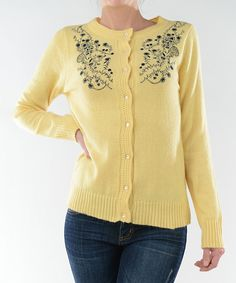 Look at this Yellow & Black Embroidered Cardigan on #zulily today!