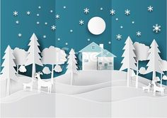 Paper art landscape of Christmas with Deer, Tree and House design. vector illustration.