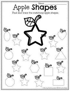 Apple Shapes Tracing Activity - Apple Worksheets Preschool